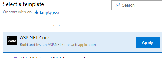 Select AspNet Core Template