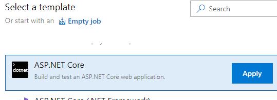 Select AspNet Core Template
